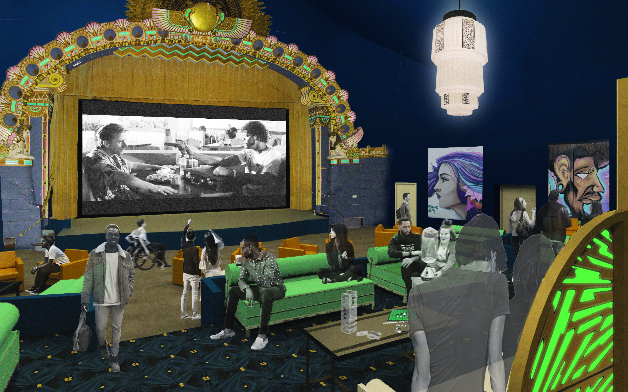 Interior rendering of The Parkway, Ivy Hill Cannabis entertainment space
