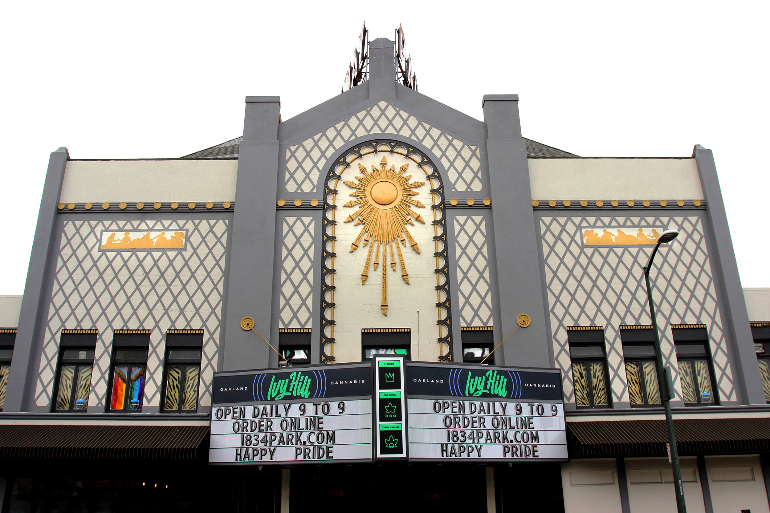 Exterior image of newly restored Parkway facade showcasing centered marquee